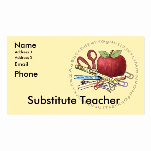 Substitute Teacher Business Cards New Substitute Teacher Business Card