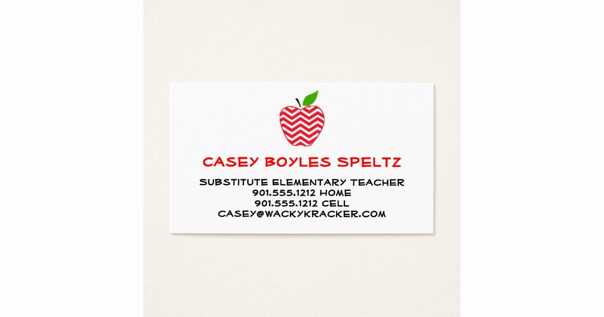 Substitute Teacher Business Cards Unique Substitute Teacher Business Cards