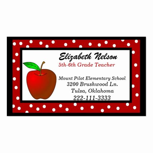 Substitute Teacher Business Cards Unique Whimsical Polka Dots Teacher S Business Card