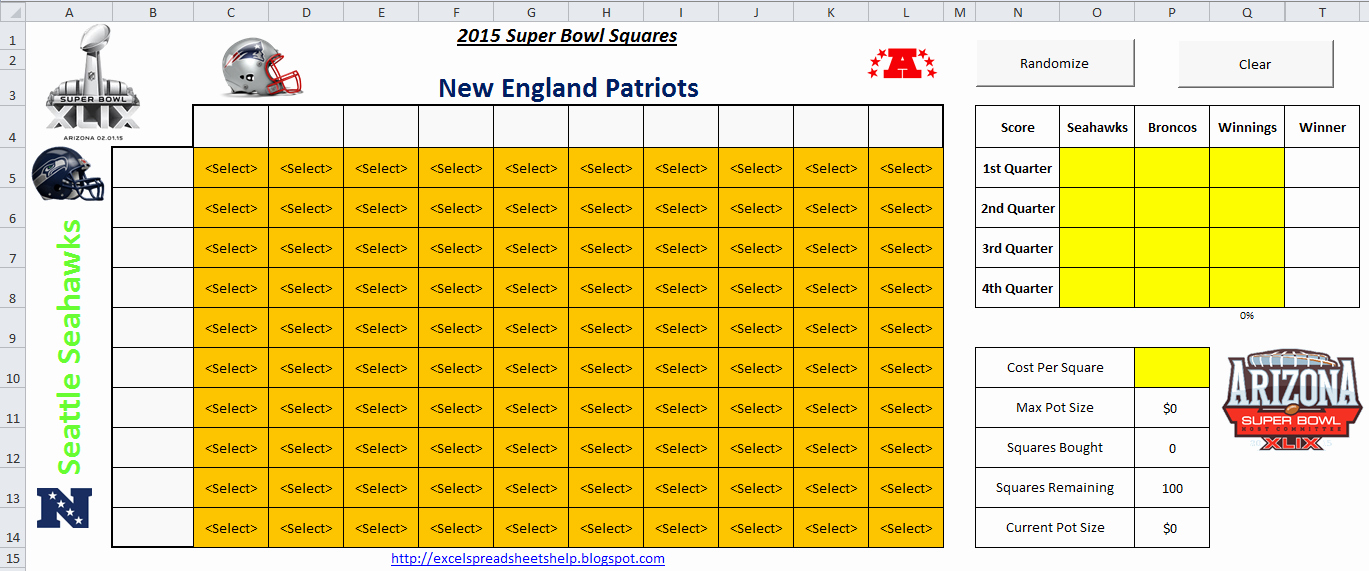 Super Bowl Squares Template Excel Beautiful Download A Free Printable 2015 Super Bowl Squares