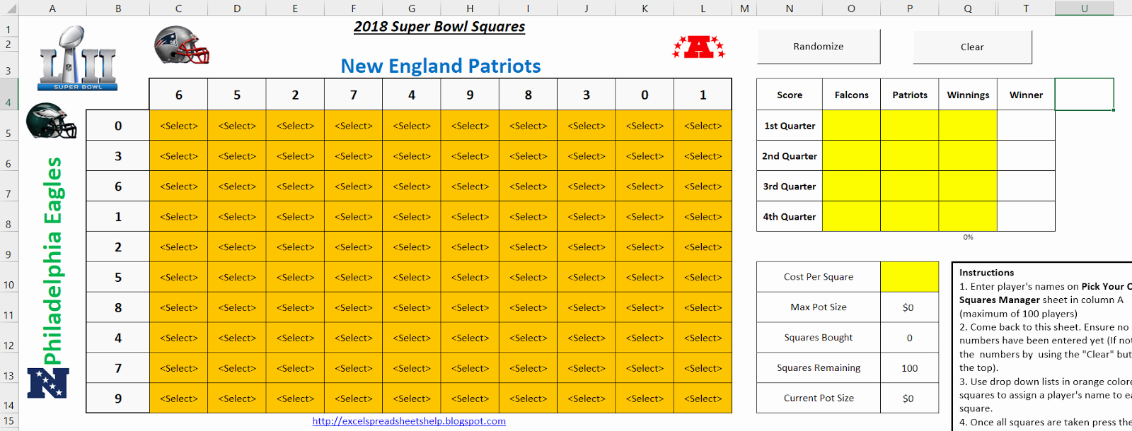 Super Bowl Squares Template Excel Inspirational Excel Spreadsheets Help Super Bowl Squares Template 2018