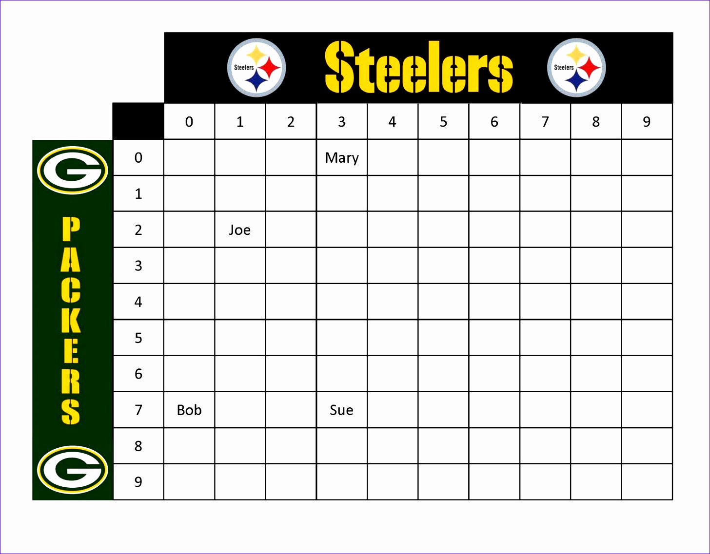 Super Bowl Squares Template Excel Unique 12 Football Squares Template Excel Exceltemplates