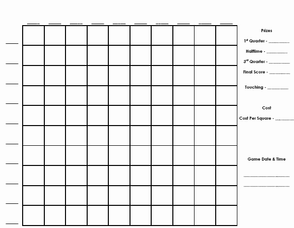 Super Bowl Squares Template Excel Unique Super Bowl Pool Template Beepmunk