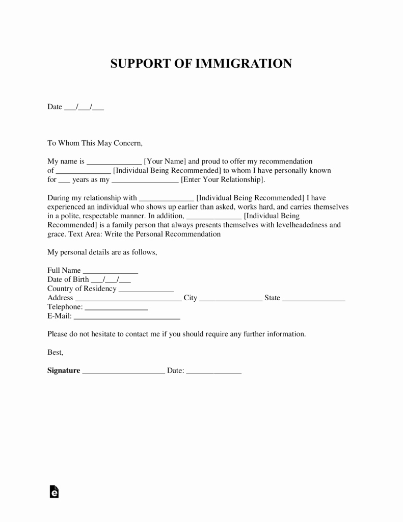 Support Letter Sample for Immigration Awesome Free Character Reference Letter for Immigration Template