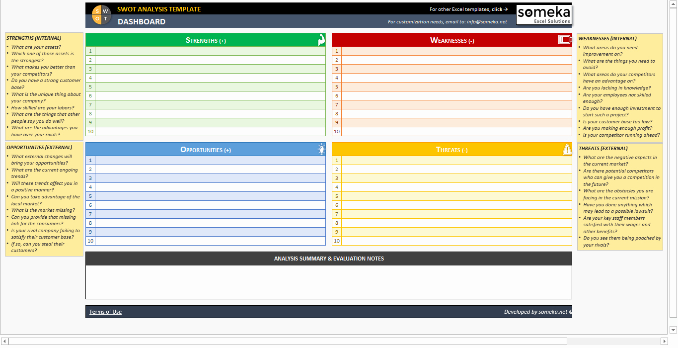 Swot Analysis Template Excel Best Of Swot Analysis Template Printable and Free Excel Spreadsheet