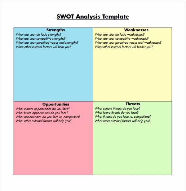 Swot Analysis Template Excel Elegant 7 Free Swot Analysis Templates Excel Pdf formats
