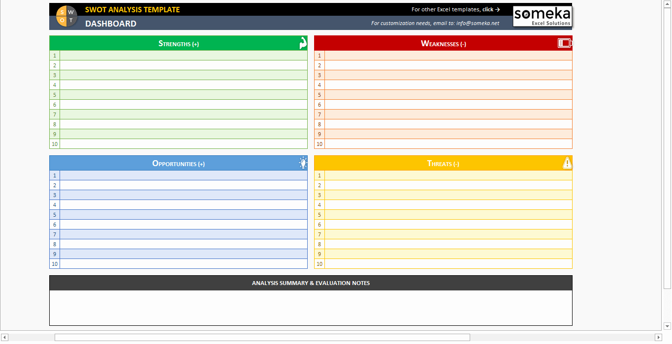 Swot Analysis Template Excel Elegant Swot Analysis Template Printable and Free Excel Spreadsheet