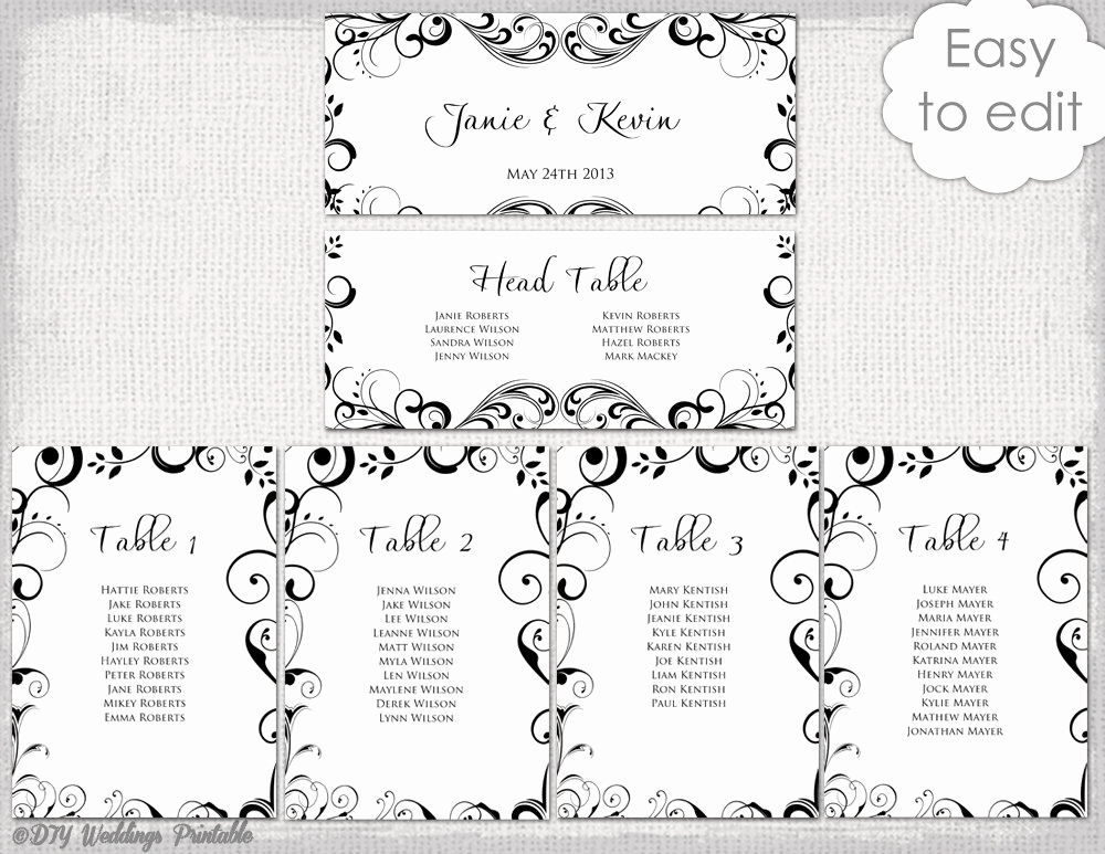 Table Seating Chart Template Elegant Wedding Seating Chart Template Black and White