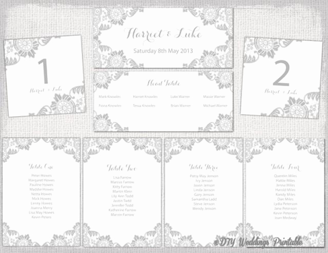 "Table Seating Chart Template Elegant Wedding Seating Chart Template Silver Gray ""antique Lace"