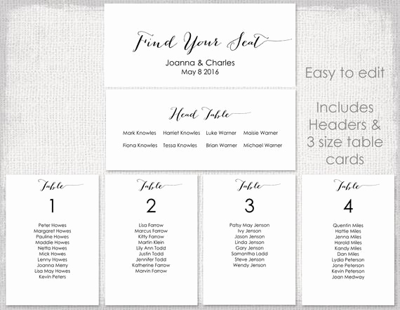 Table Seating Chart Template Inspirational Wedding Seating Chart Template Black Bombshell Diy