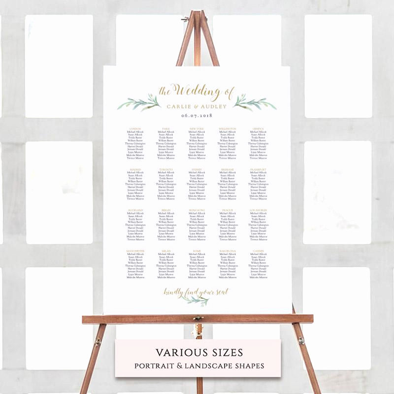 Table Seating Chart Template New Greenery Wedding Invitations Rustic Wedding Invitations