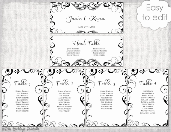 Table Seating Chart Template New Wedding Seating Chart Template Black and White