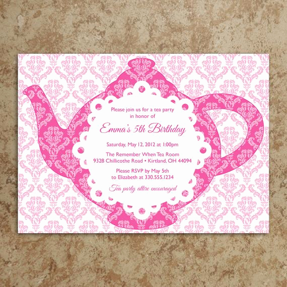 Tea Party Invitation Templates Awesome Items Similar to Tea Party Invitation Diy Printable Pdf