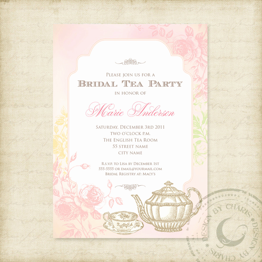 Tea Party Invitation Templates Beautiful Shabby Chic Bridal Tea Party Printable Invitation
