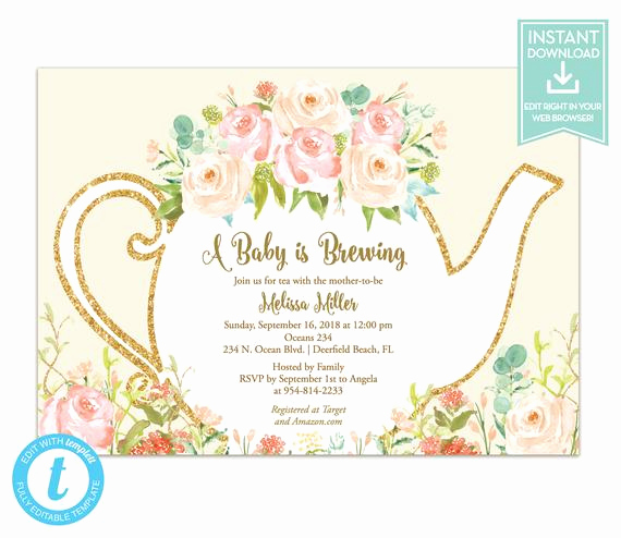 Tea Party Invitation Templates Best Of Tea Party Invitation Template Floral Teapot Bridal Shower