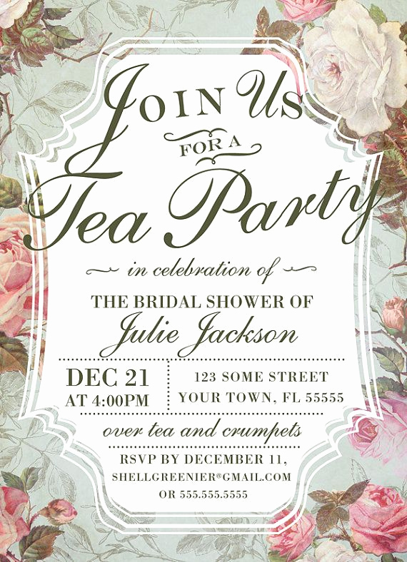 Tea Party Invitation Templates Fresh Bridal Shower Tea Party Invitation Template Vintage Rose