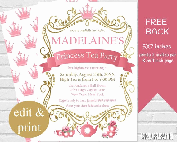 Tea Party Invitation Templates Fresh Princess Tea Party Invitation Tea Party Princess Tea