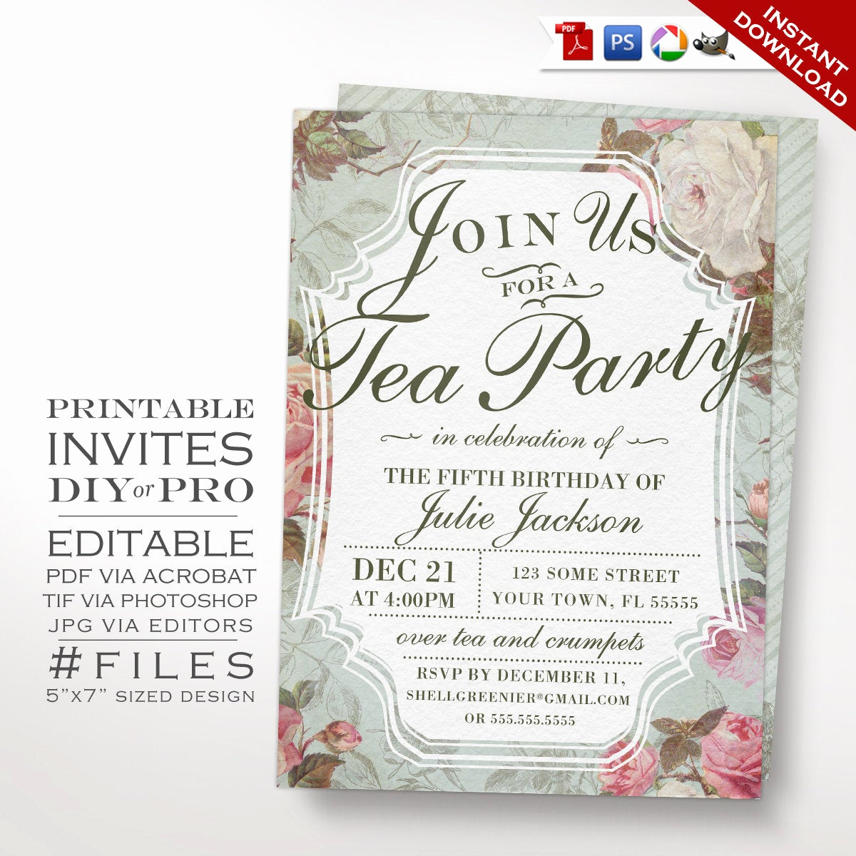 Tea Party Invitation Templates Inspirational Birthday Tea Party Invitation Template Vintage Rose Tea