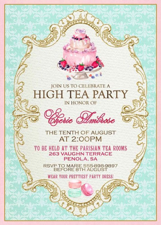 Tea Party Invitation Templates Inspirational High Tea Invitation Template Invitation Templates J9tztmxz