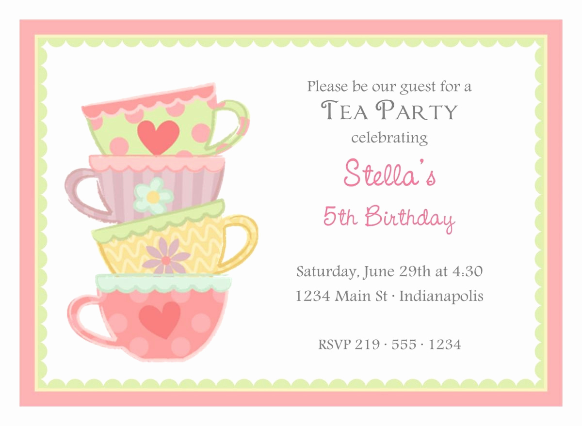 Tea Party Invitation Templates Lovely Free afternoon Tea Party Invitation Template