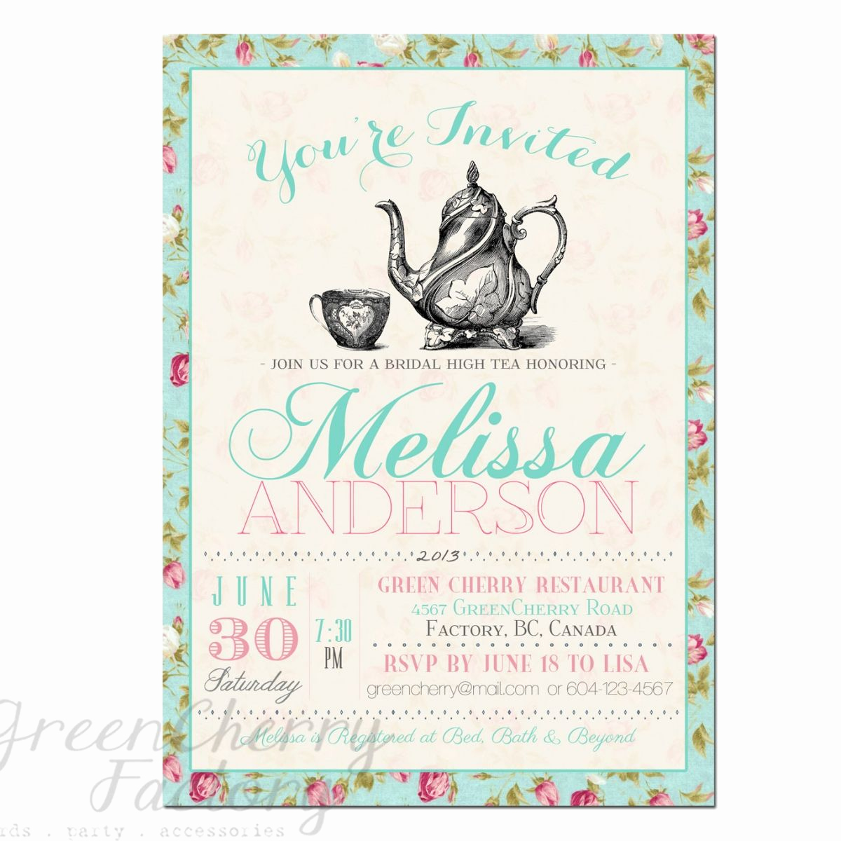 Tea Party Invitation Templates Lovely Tea Party Invitation Templates to Print
