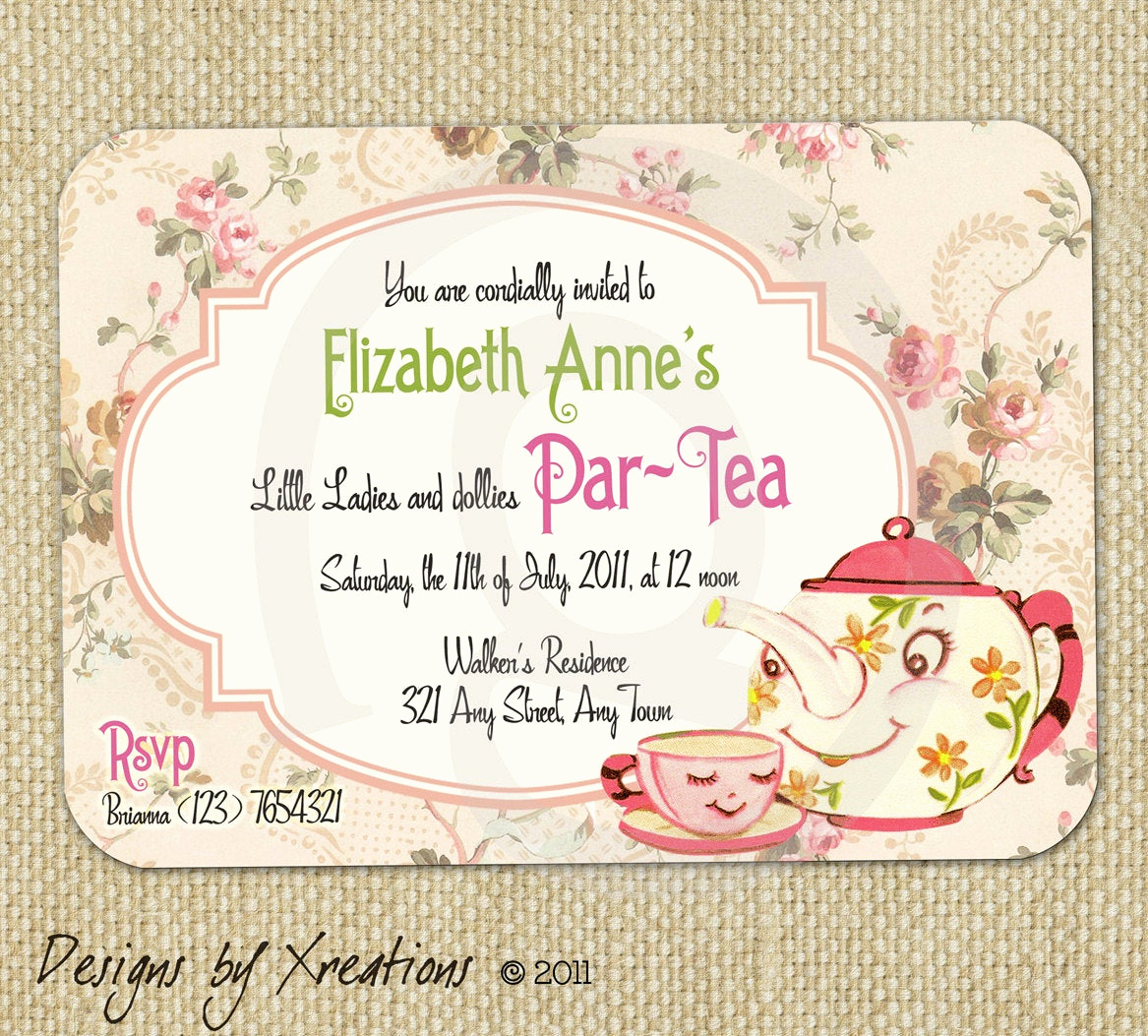 Tea Party Invitation Templates New Items Similar to Cute Vintage Tea Party Invitation Digital