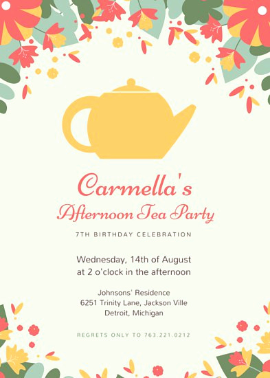 Tea Party Invitations Templates Awesome Customize 2 885 Tea Party Invitation Templates Online Canva