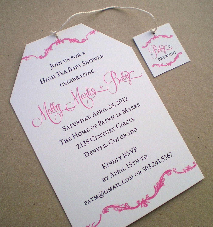 Tea Party Invitations Templates Beautiful High Tea Baby Shower Invitation Girl