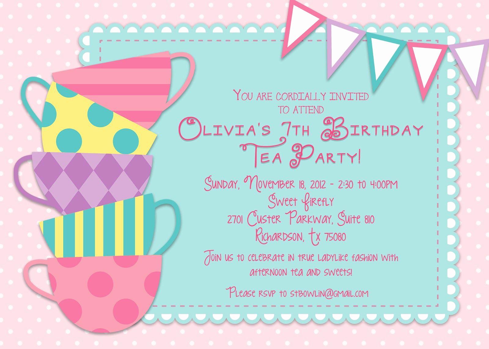 Tea Party Invitations Templates Beautiful Kids Tea Party Invitations Tea Party Pinterest