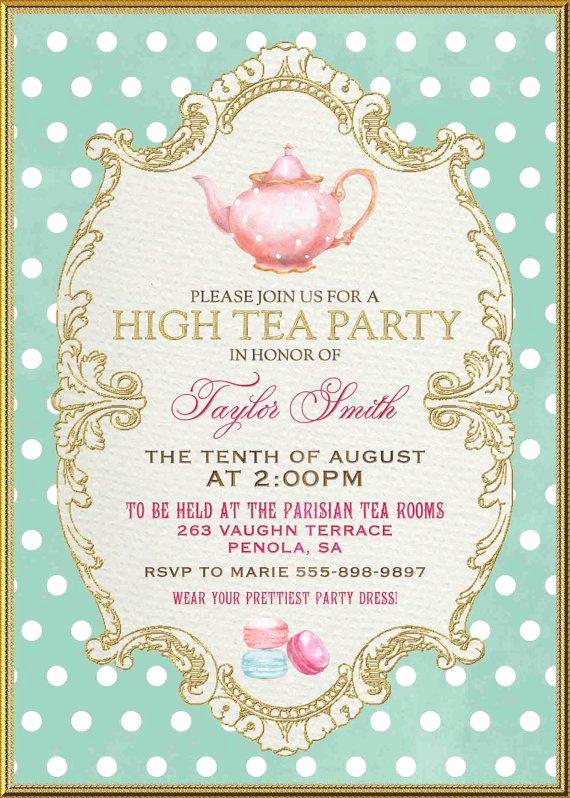 Tea Party Invitations Templates Best Of 25 Best Ideas About High Tea Invitations On Pinterest