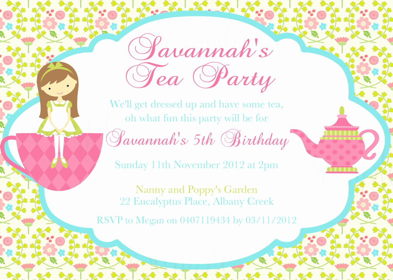 Tea Party Invitations Templates Elegant Tea Party Birthday theme Printable Invitation and Gift Favor