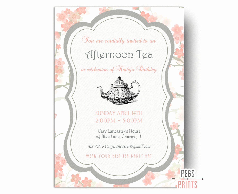 Tea Party Invitations Templates Fresh Birthday Tea Party Invitation Tea Party Birthday Invitation