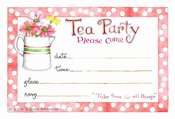 Tea Party Invitations Templates Fresh Tea Party Blank Invitations