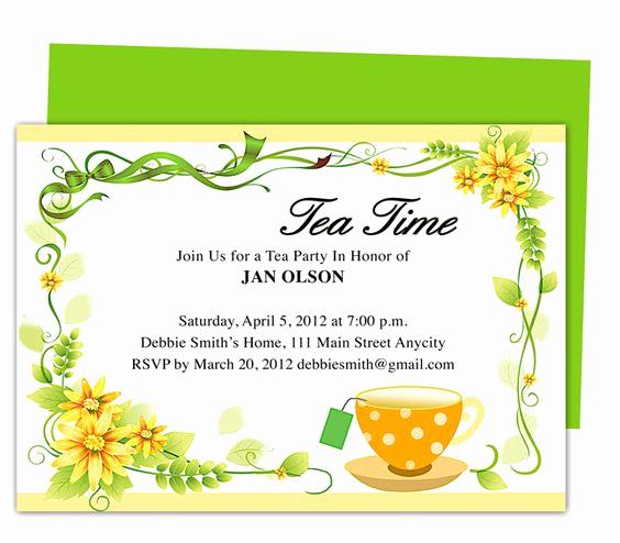Tea Party Invitations Templates Lovely Freshness Tea Party Invitation Party Templates Printable
