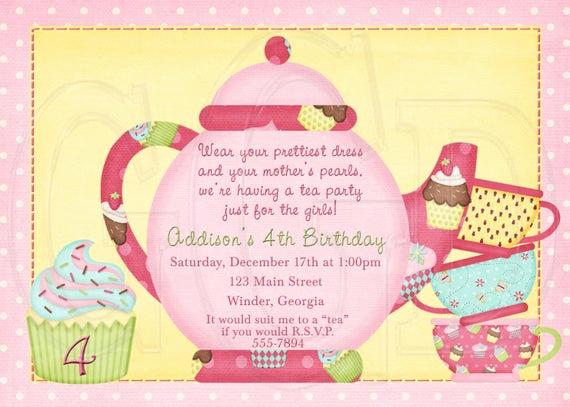 Tea Party Invitations Templates Lovely Tea Party Invitation Tea Pot Invitation Tea Party Dress Up