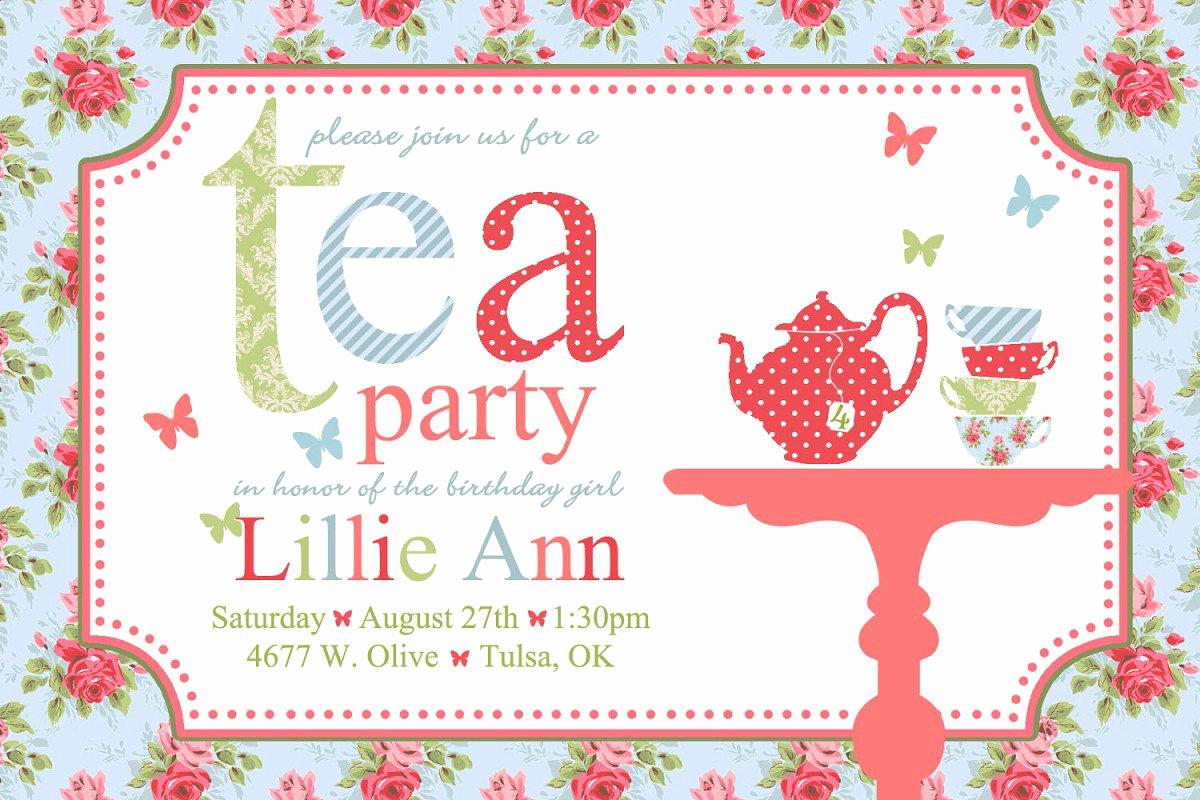 Tea Party Invitations Templates Luxury Printable Vintage Tea Party Invitations