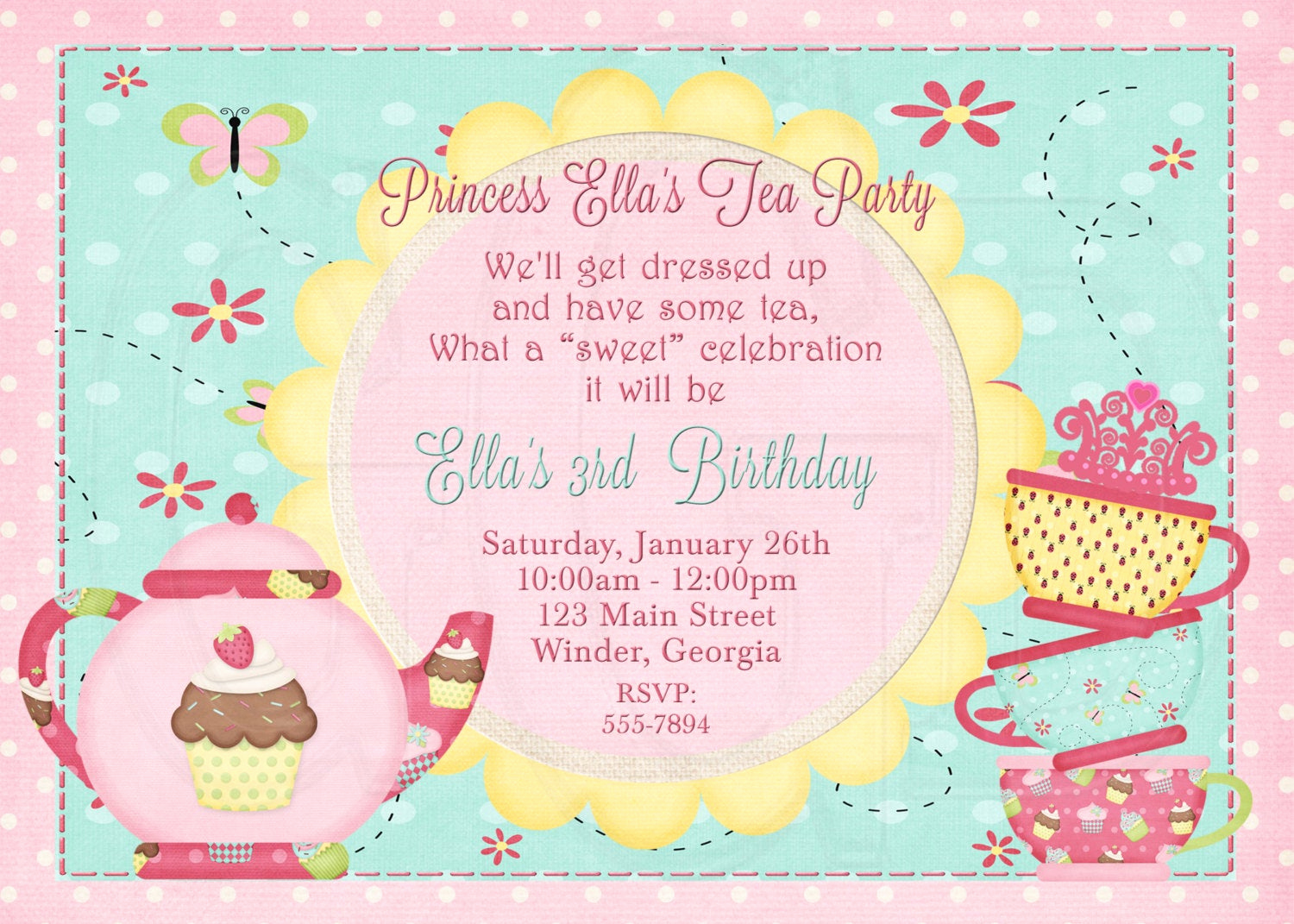 Tea Party Invitations Templates New Tea Party Invitation Birthday Dress Up Party Digital File