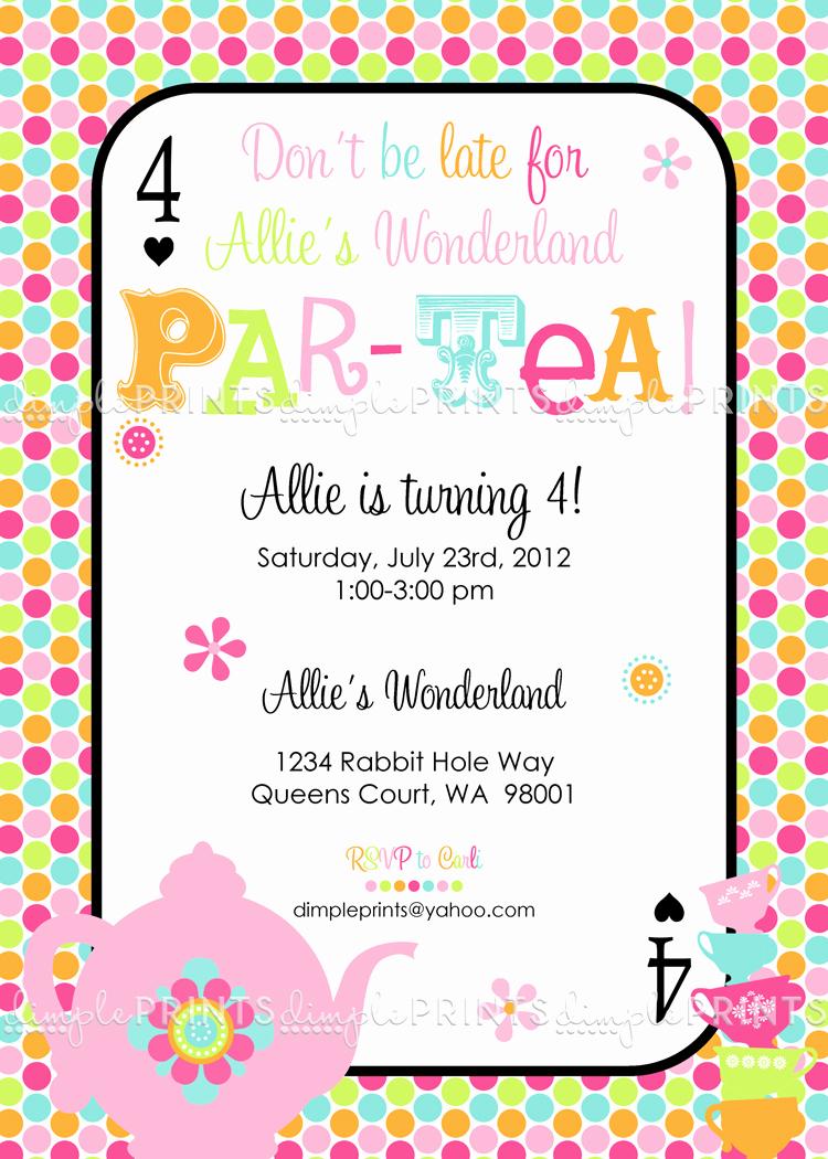 Tea Party Invitations Templates New Tea Party Par Tea Printable Invite Dimple Prints Shop