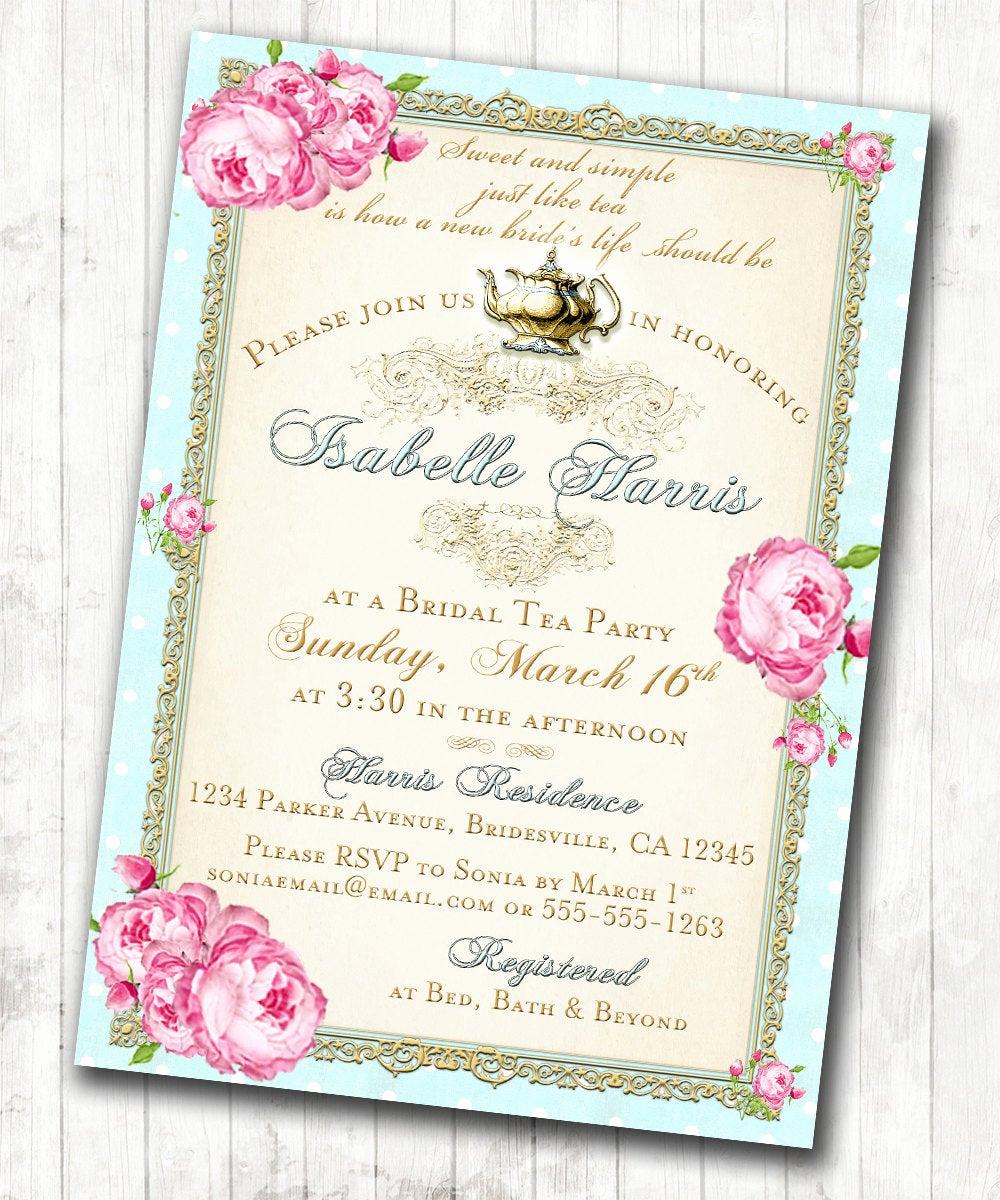 Tea Party Invitations Templates Unique Tea Party Bridal Shower Tea Party Invitation Floral