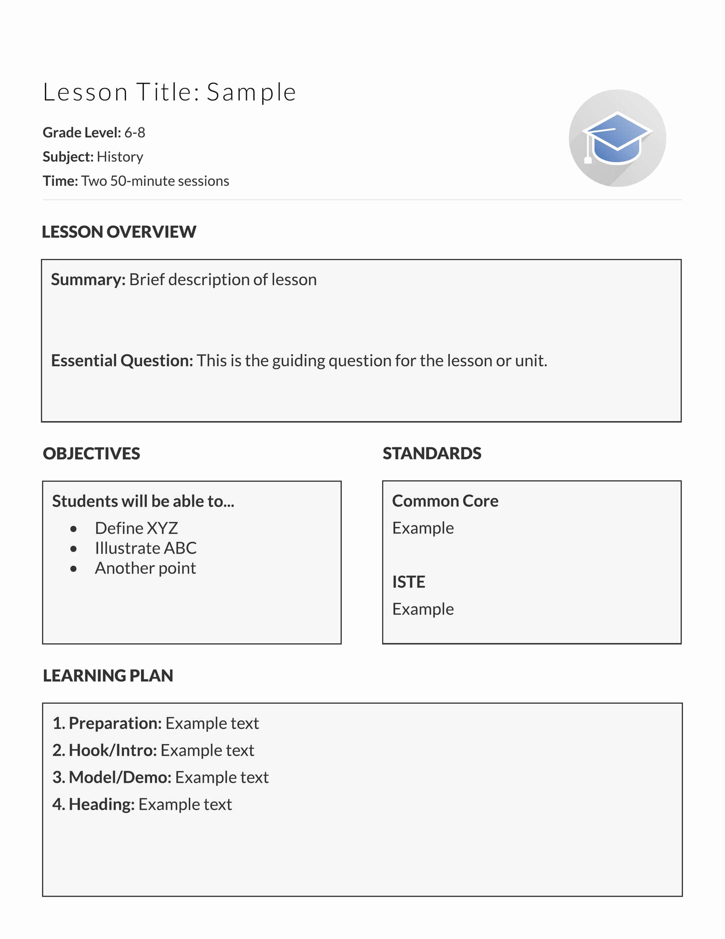 Teacher Lesson Plan Template Awesome 5 Free Lesson Plan Templates & Examples Lucidpress