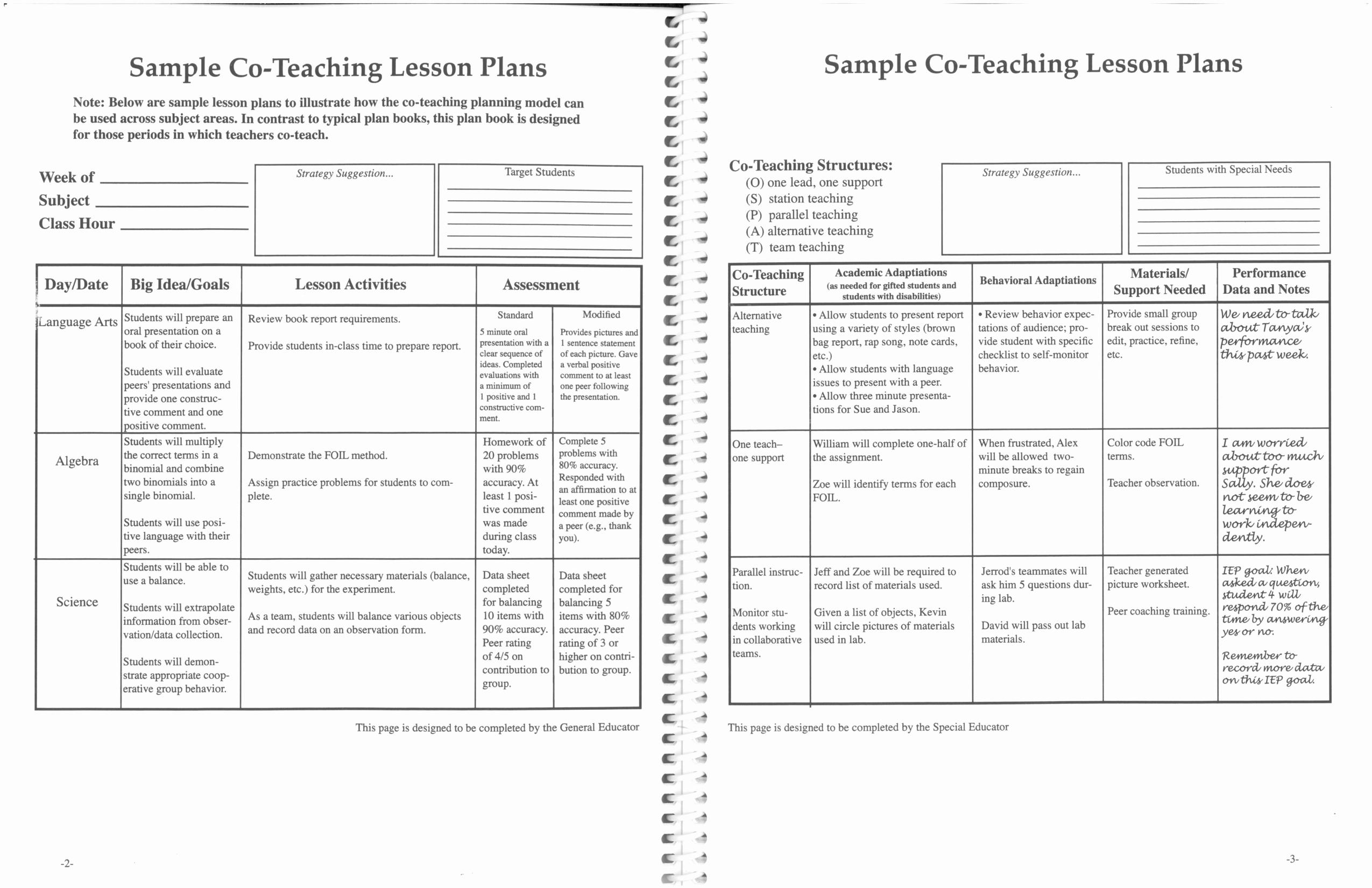Teacher Lesson Plan Template Awesome Printable Co Teaching Lesson Plans 2 with Teaching Lesson