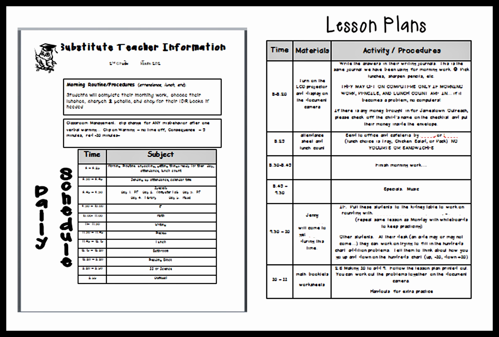 Teacher Lesson Plan Template Beautiful Following Optimism In 2nd Grade Sick Days and Sub Plans