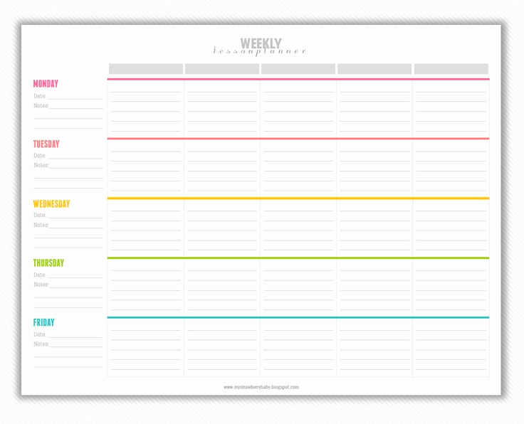 Teacher Lesson Plan Template Inspirational My Strawberry Baby Free Printable Weekly Lesson Plan
