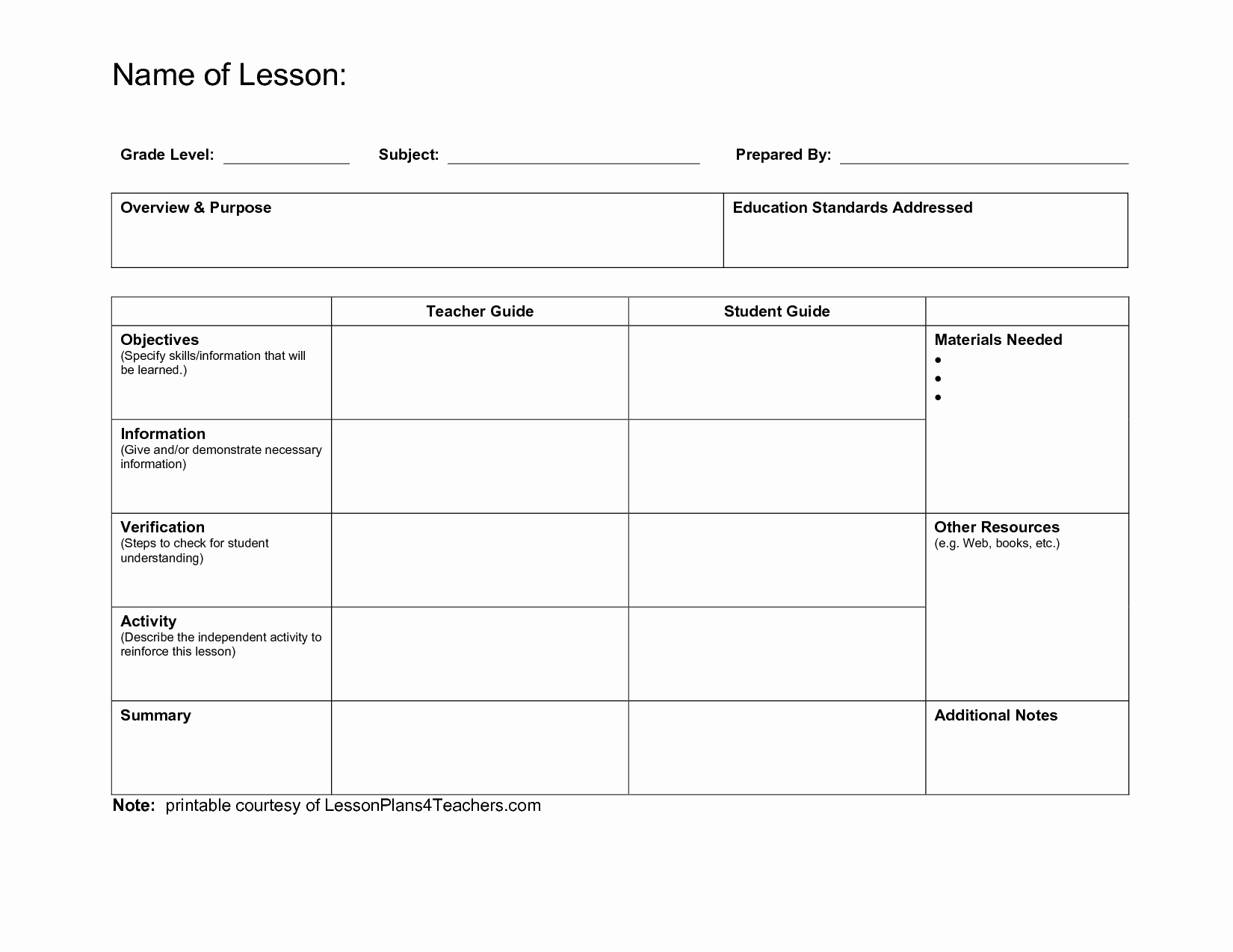 Teacher Lesson Plan Template New Teacher Resources