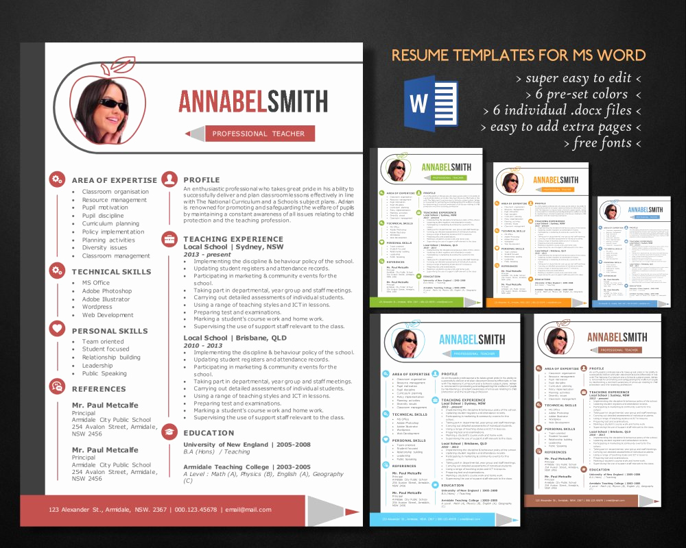 Teacher Resume Template Free Awesome Modern 2 In 1 Word Teacher Resume Resume Templates