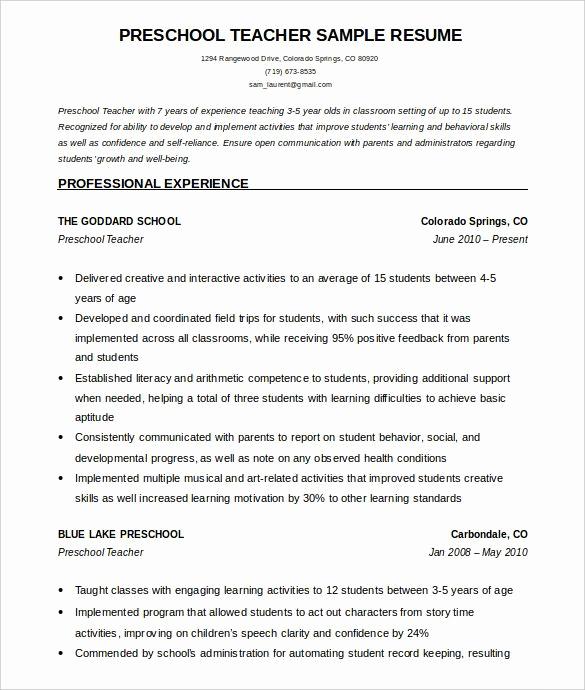Teacher Resume Template Free Beautiful Preschool Teacher Resume Template Free Word Download How