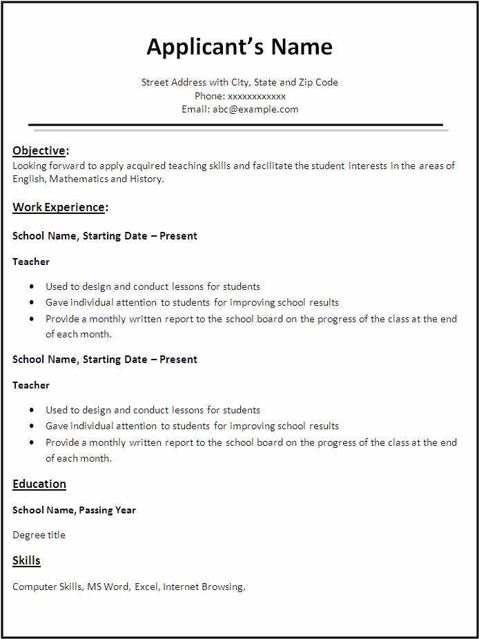 Teacher Resume Template Free Fresh Free Teacher Resume format