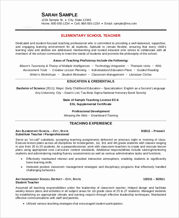 Teacher Resume Template Free Luxury Free Teacher Resume 40 Free Word Pdf Documents