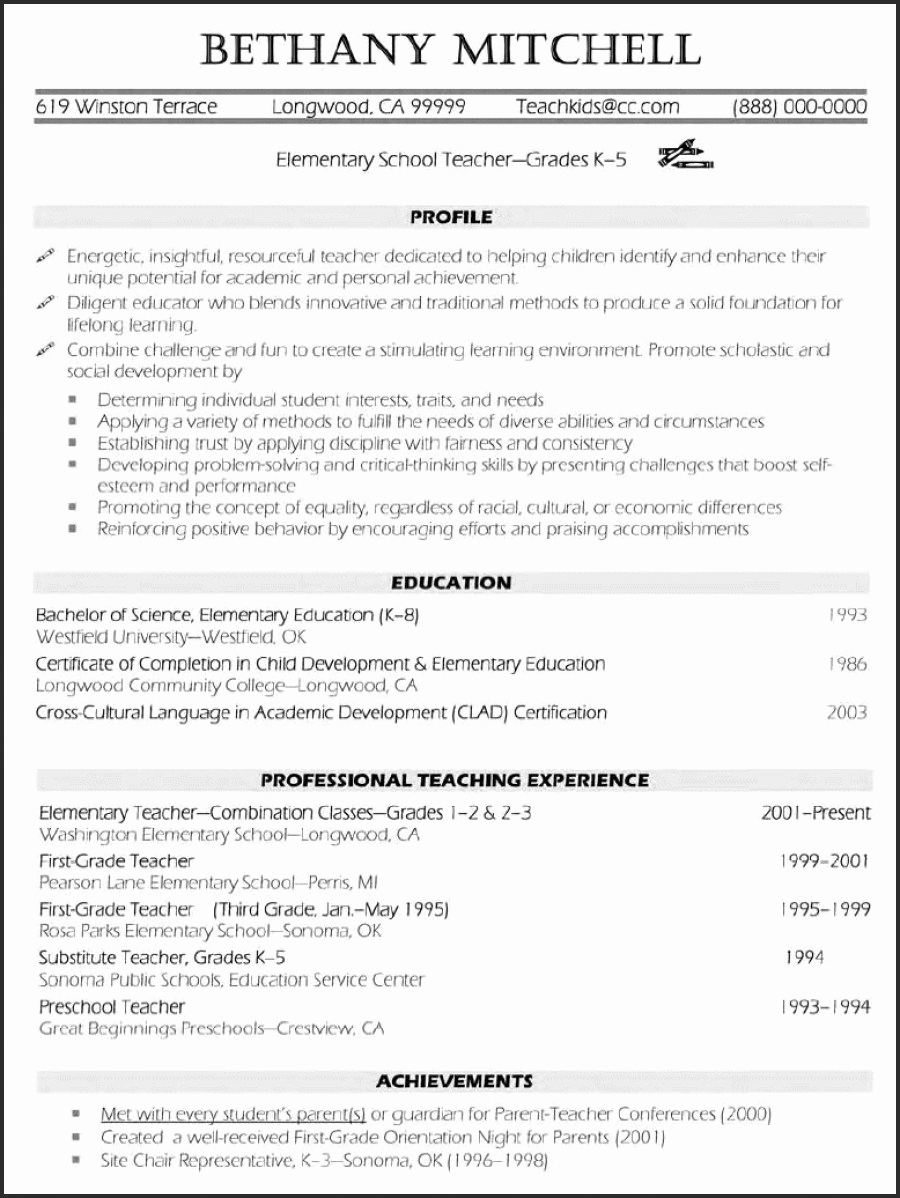 Teacher Resume Template Free New Free Teacher Resume Templates Pics – 50 Teacher Resume
