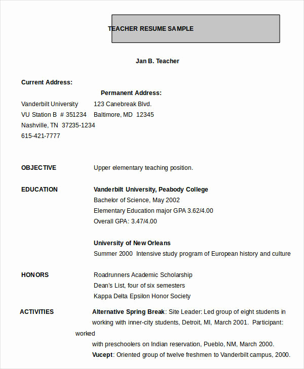 Teacher Resume Template Word Awesome Resume In Word Template 24 Free Word Pdf Documents
